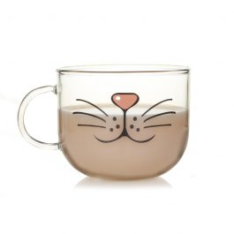 Novelty Cat Face Clear Glass Cup