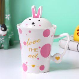 2019 New Pink Bunny Mug with Lid Spoon